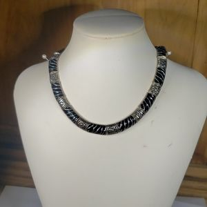 Cookie Lee black and silver choker necklace
